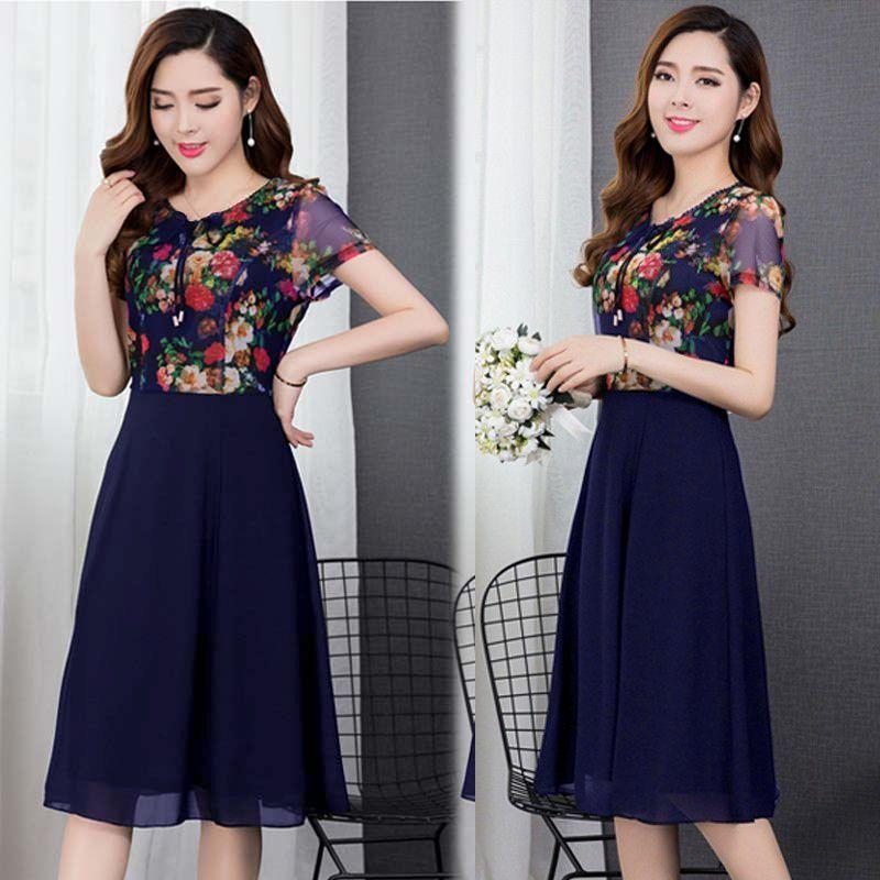 Đầm xòe chiffon xanh in hoa 3D phối ren cột nơ giá sỉ, giá bán buôn