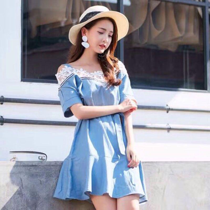 Đầm Jean Hở Vai Phối Ren giá sỉ, giá bán buôn