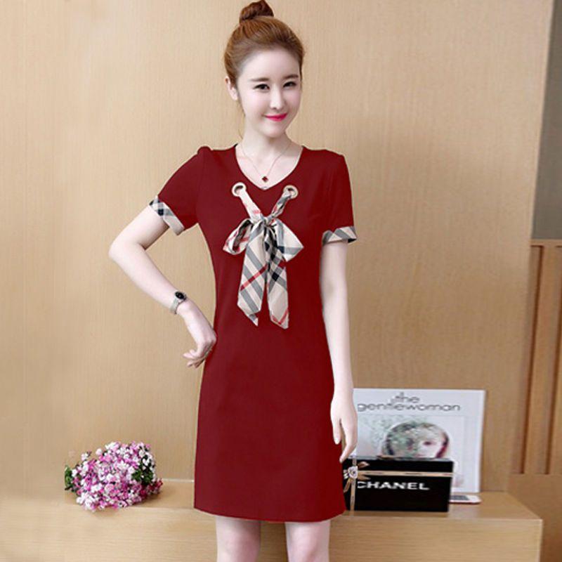 Đầm thun suông đỏ cột nơ viền tay giá sỉ, giá bán buôn