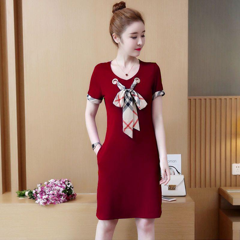 Đầm thun suông đen cột nơ viền tay giá sỉ, giá bán buôn