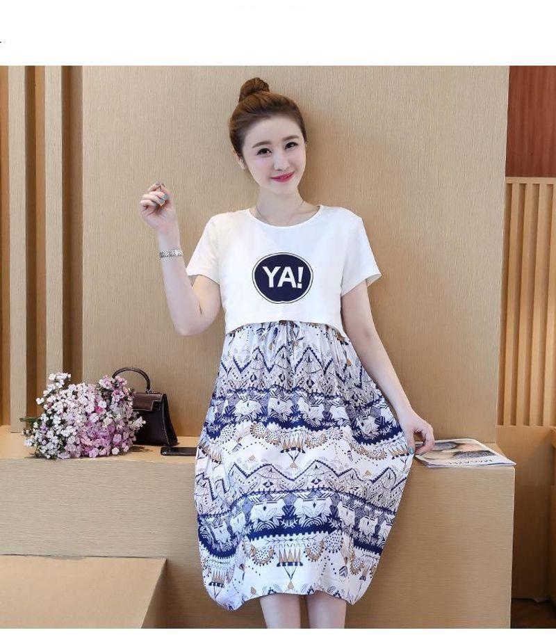 Đầm bầu voan họa tiết phối áo thun giá sỉ, giá bán buôn
