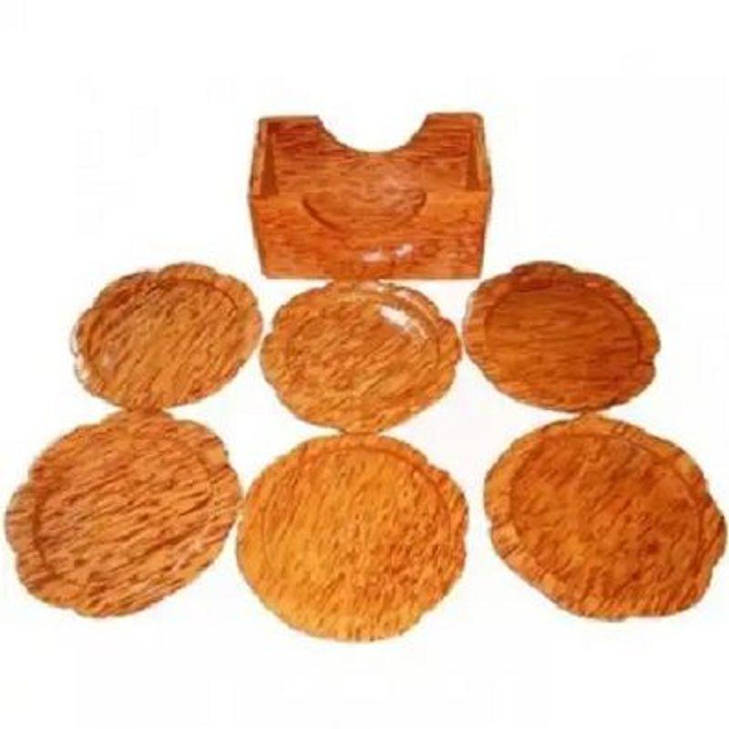 Bộ đế lót ly hình hoa mai bằng gỗ dừa mỹ nghệ giá sỉ, giá bán buôn
