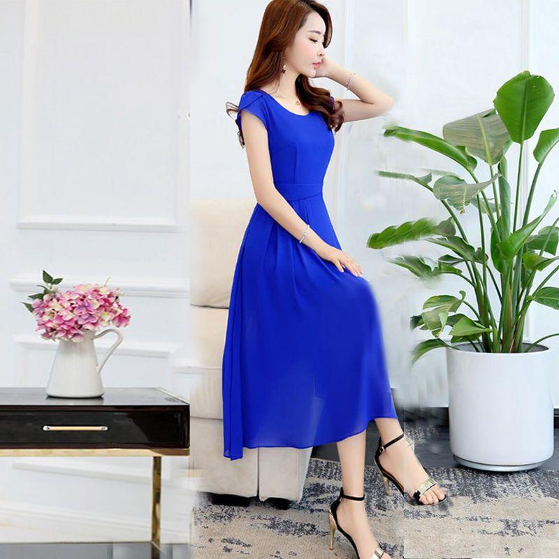 Đầm Voan Xòe Xanh Tay Búp giá sỉ, giá bán buôn