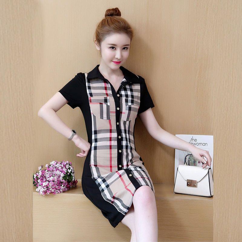 Đầm thun sơmi caro phối nút thời trang giá sỉ, giá bán buôn