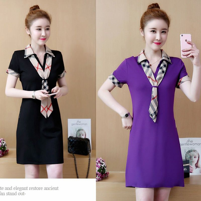 Đầm thun sơ mi đen viền tay cách điệu giá sỉ, giá bán buôn