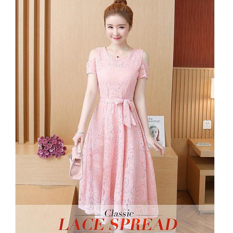 Đầm ren xòe hồng hở vai phối dây phụ kiện giá sỉ, giá bán buôn