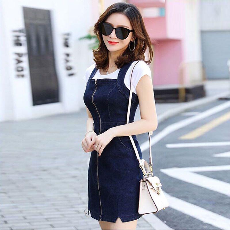 Đầm jean Yếm Dây Kéo Trước Thời Trang giá sỉ, giá bán buôn