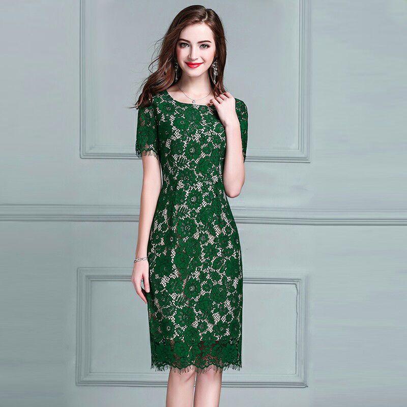 Đầm Ren Mi Tay Ngắn Màu Da giá sỉ, giá bán buôn