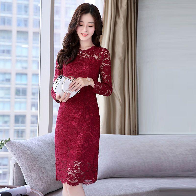 Đầm Ren Body Họa Tiết Hoa Nổi Tay Dài có size XXL