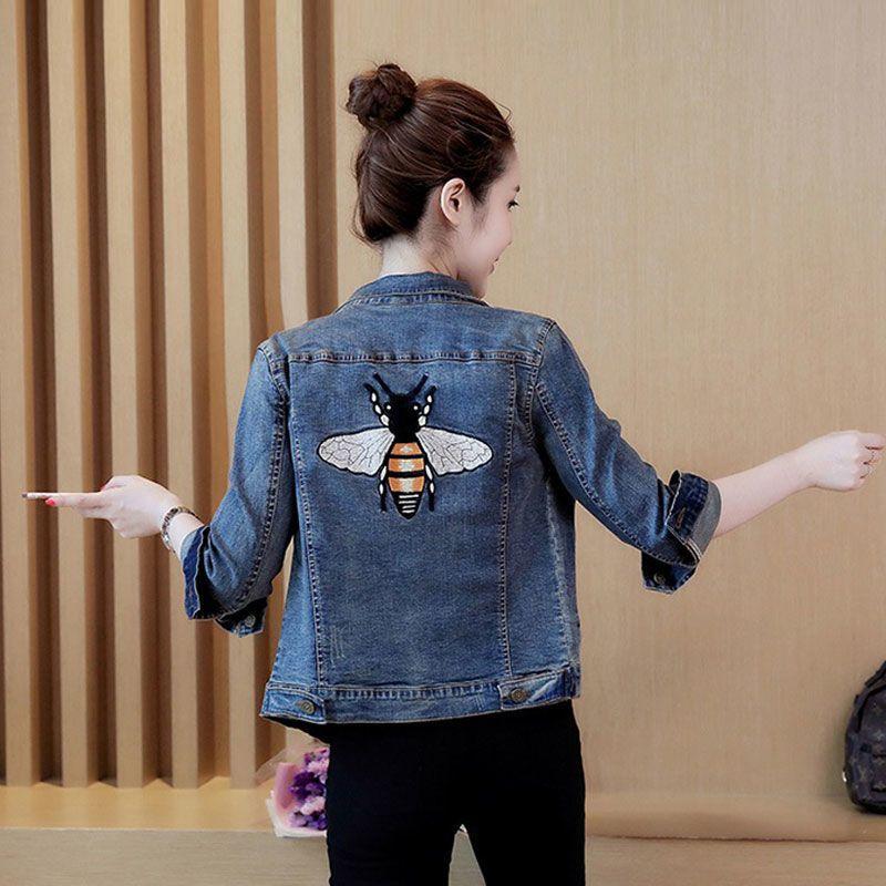 Áo khoác jean thêu hình con ong giá sỉ, giá bán buôn