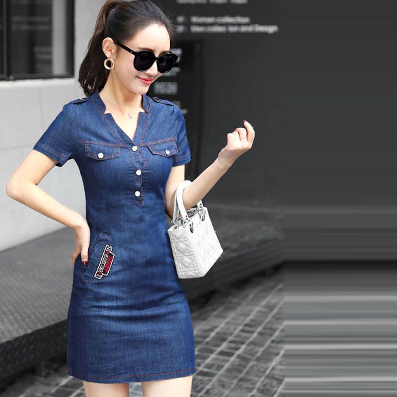 Đầm jean suông cổ V khuyết giá sỉ, giá bán buôn