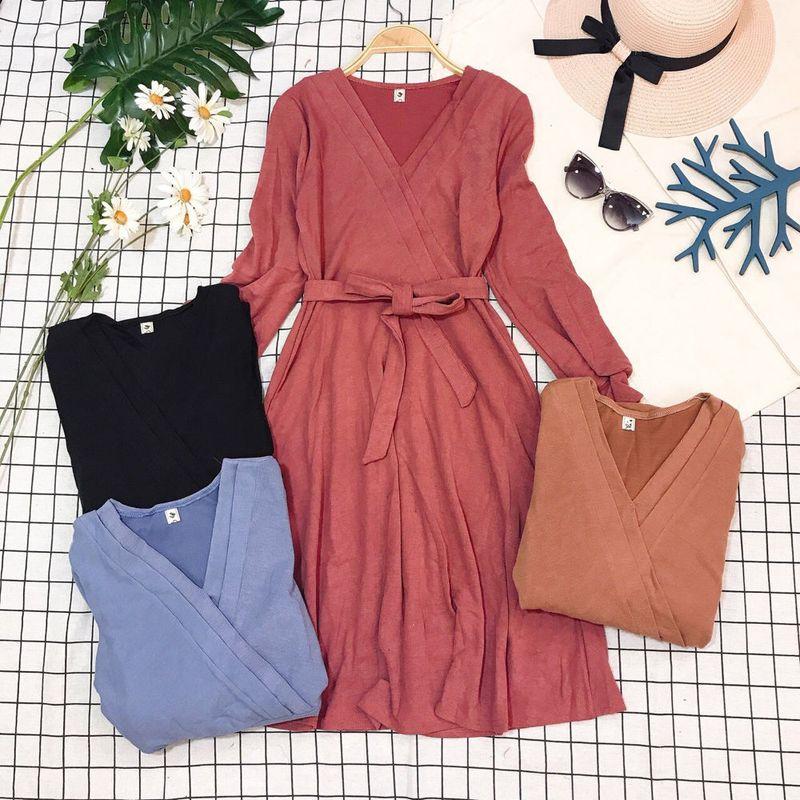 Đầm đắp ngực xếp li về thêm Kèm dây belt cột nơ hoặc làm băng đô đều xinh giá sỉ, giá bán buôn