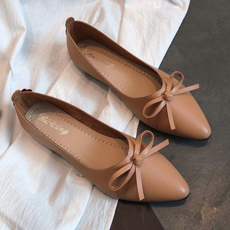 Giày búp bê mỏ nhọn da mềm có nơ xinh xắn-306 giá sỉ, giá bán buôn