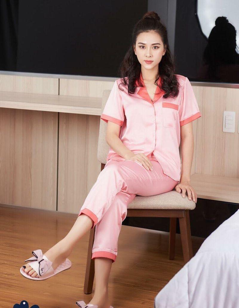 Đồ bộ pijama lụa satin quần dài tay ngắn phối màu giá sỉ, giá bán buôn