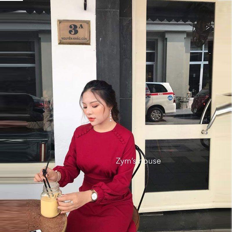 Đầm Đỏ Vintage Cổ Tròn Đính Nút Tay Dài Bồng giá sỉ, giá bán buôn