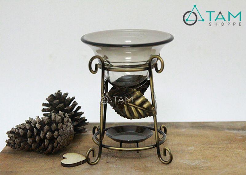 Đèn xông tinh dầu bằng nến Khung sắt chiếc lá 02 giá sỉ, giá bán buôn
