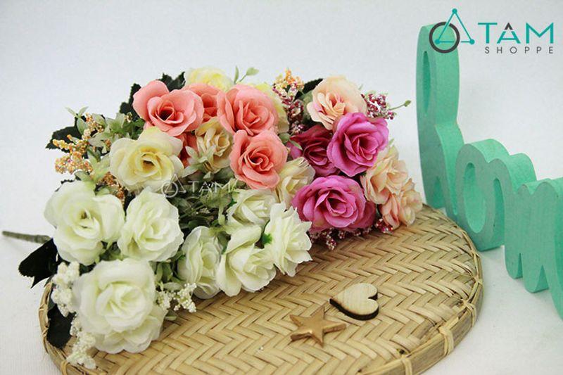 Cành hoa giả trang trí Hoa hồng pháp số 70 giá sỉ, giá bán buôn