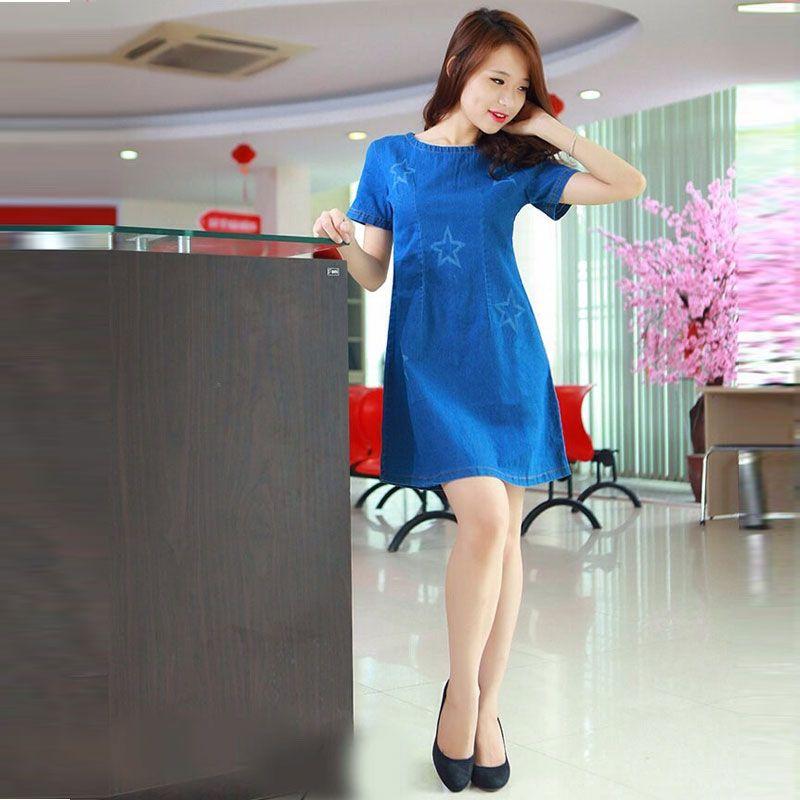 Đầm Jean Suông Cổ Tròn Hình Ngôi Sao giá sỉ, giá bán buôn