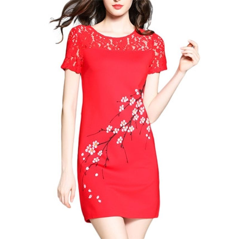 Đầm Đỏ Phối Ren In Cành Đào Form Rộng Thời Trang giá sỉ, giá bán buôn