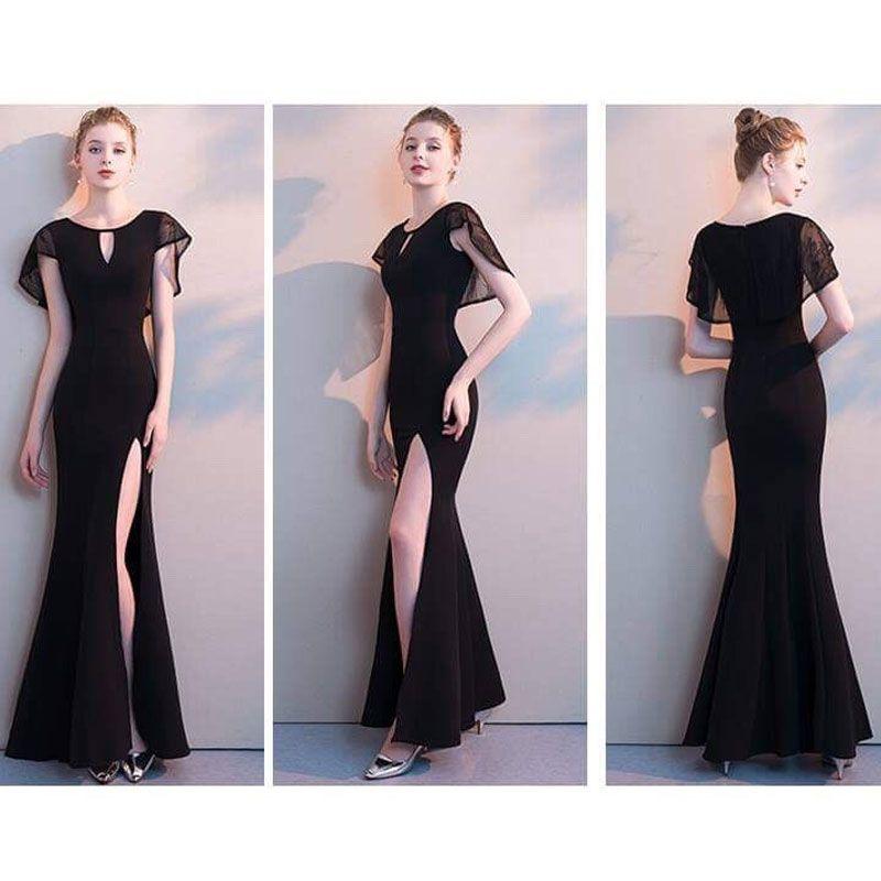 Đầm Dự Tiệc Choàng Đen Ren Xẻ Đùi Đuôi Cá giá sỉ, giá bán buôn