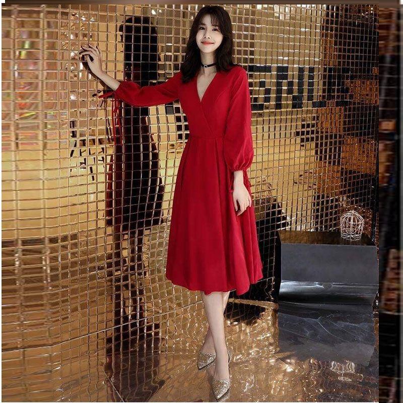Đầm Đỏ Dự Tiệc Vintage Sang Trọng giá sỉ, giá bán buôn