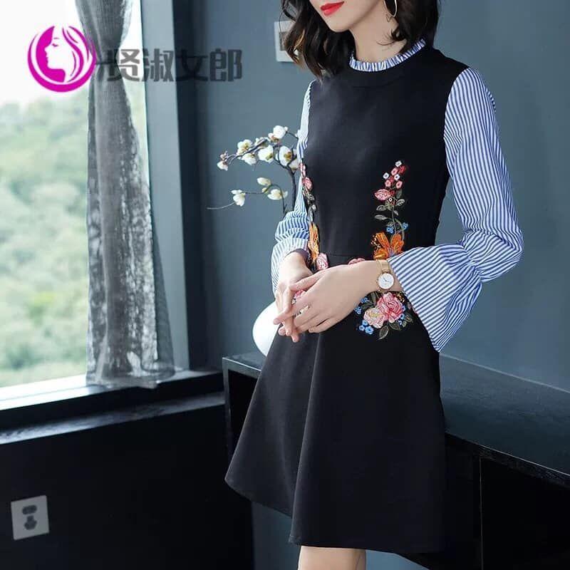 Đầm xòe thêu tay phối sọc QC giá sỉ, giá bán buôn