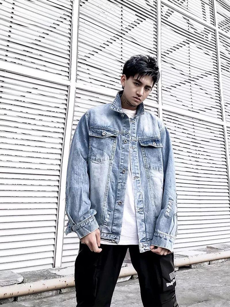 áo khoác jean nam thêu tay giá sỉ, giá bán buôn