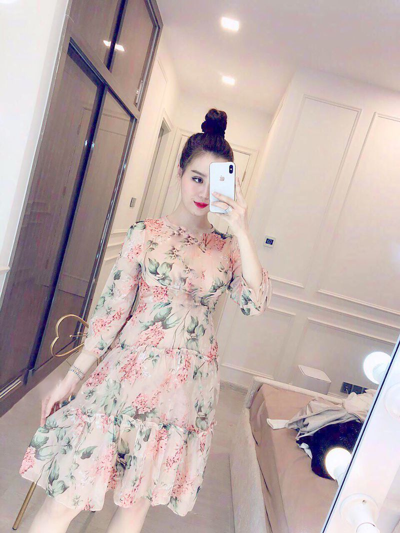 Đầm Xòe In Hoa 3 Tầng Siêu Xinh Giá Sỉ Rẻ Nhất TpHCM - VN