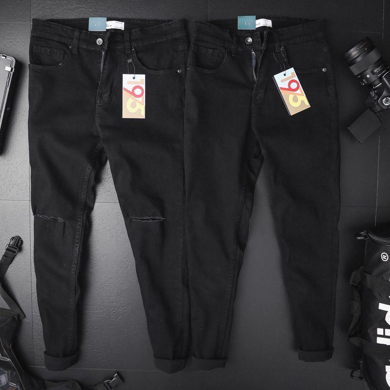 Quần jean nam đen rách gối giá sỉ, giá bán buôn