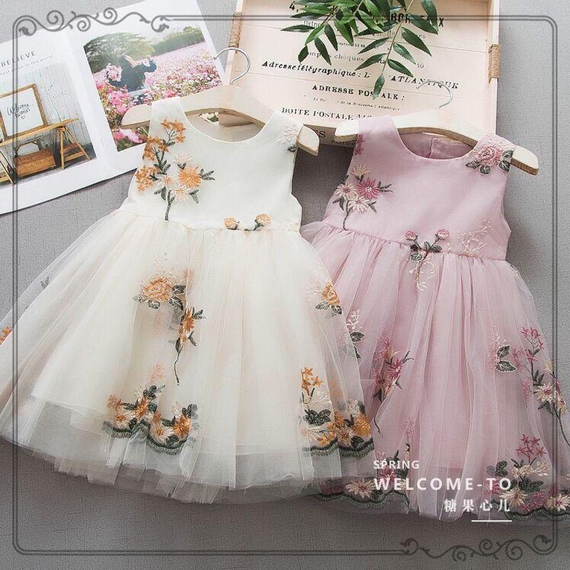 Váy công chúa thêu hoa dáng xoè bồng bềnh giá sỉ, giá bán buôn