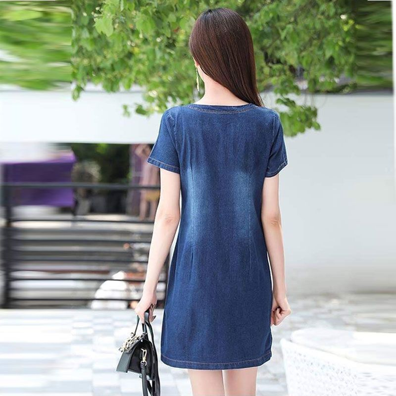 Đầm Jean Cổ Tròn Hai Túi Trước Form Chữ A Basic