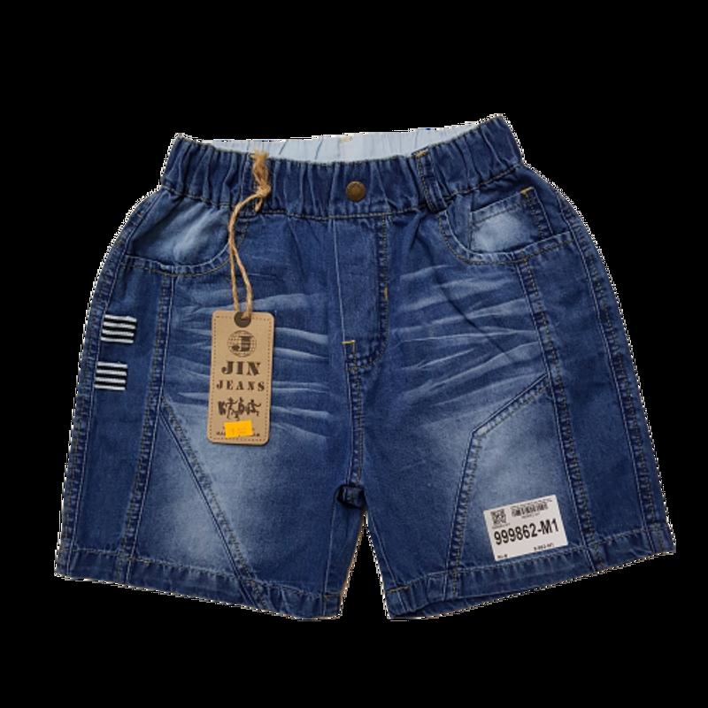 999862-M1- Quần sooc jean bé trai nhăn đùi viền sườn xanh hiệu jinjean size nhỡ 9-14/ri6/9862-M1/T8b1d2/5