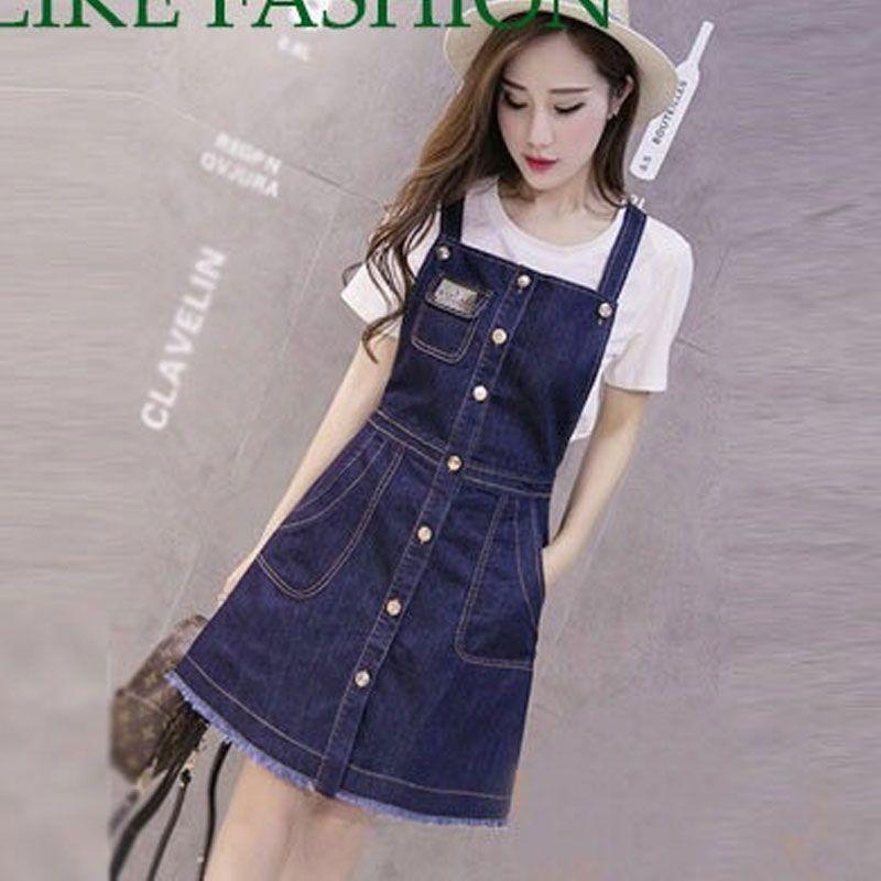 Đầm Jean Yếm Phối Nhiều Nút Kèm Túi Mini Xì Teen giá sỉ, giá bán buôn