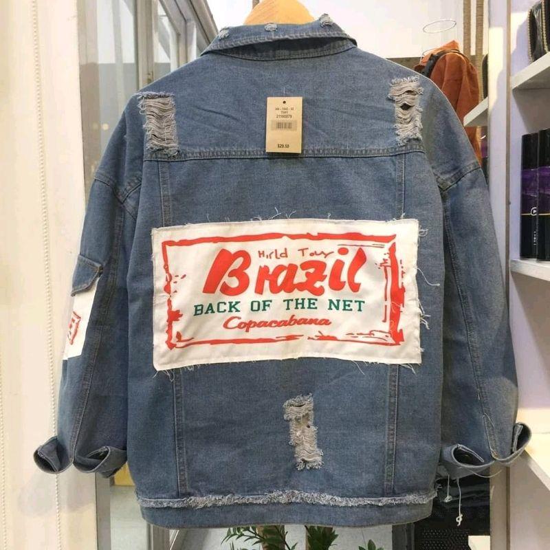 áo khoác jeans nam rộng 3 size Brazil