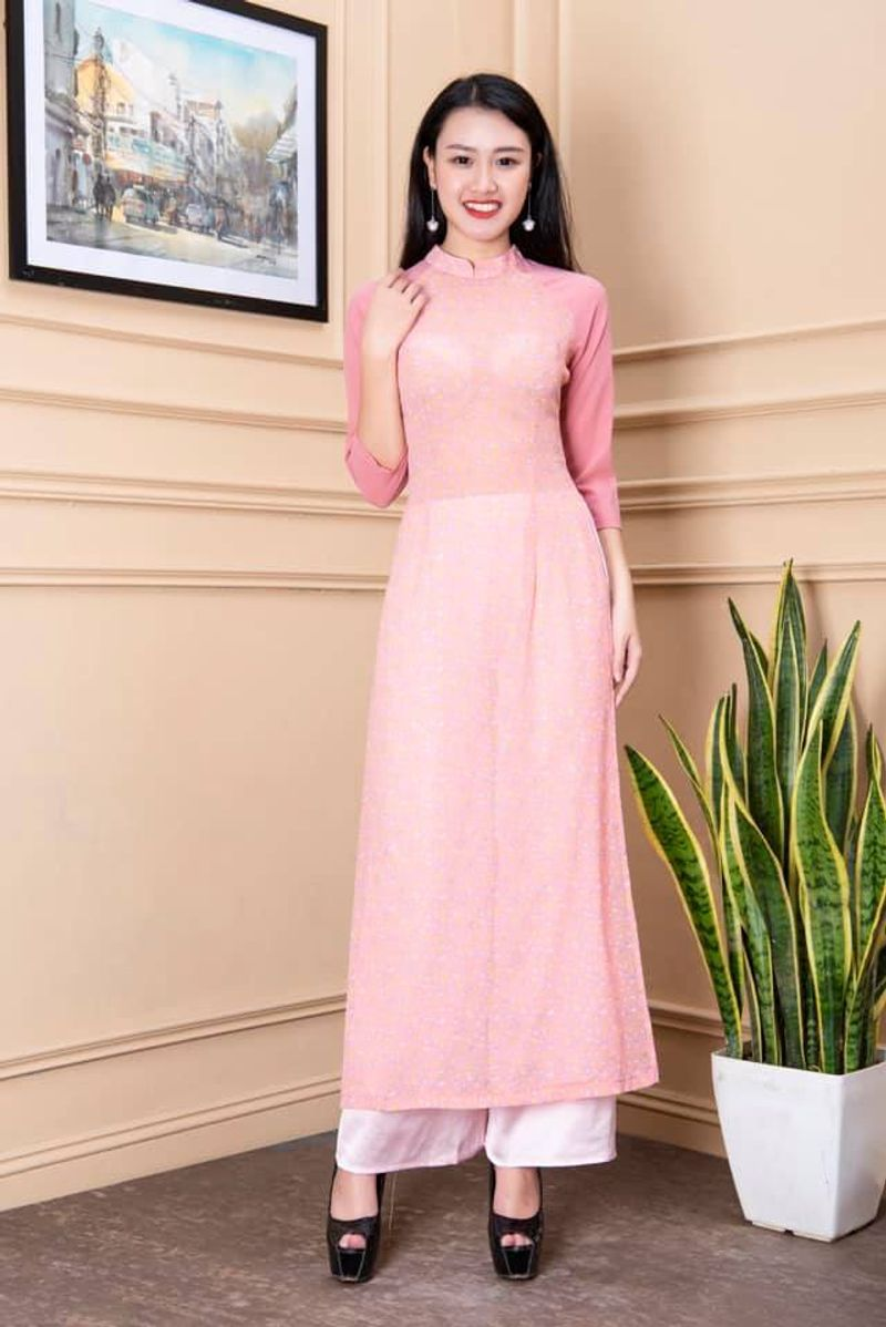 Áo dài hoa nhí phối tay màu hồng giá sỉ, giá bán buôn