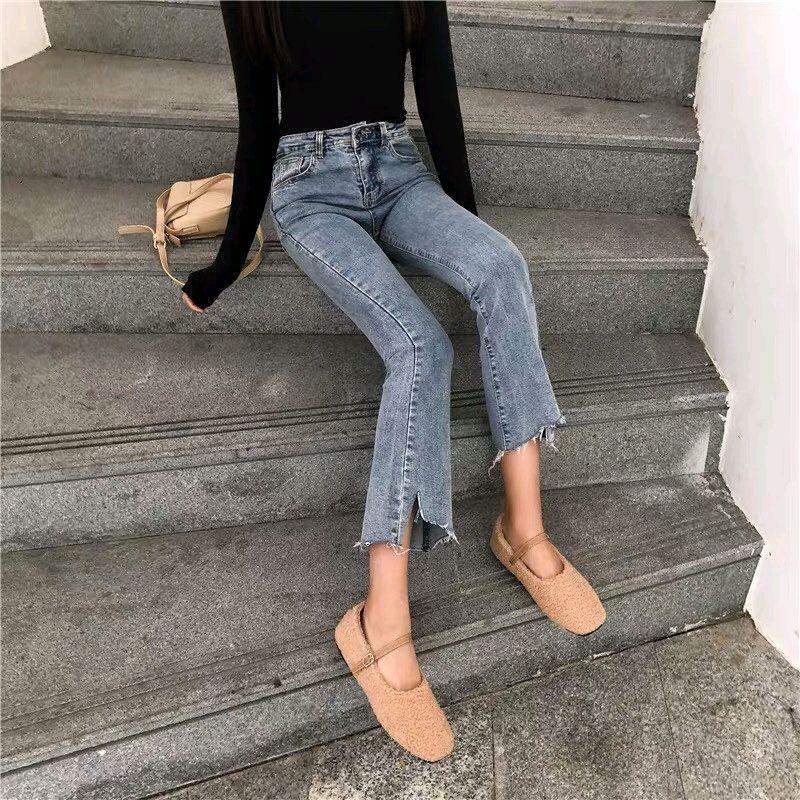 Quần Jeans Nữ Ống Loe Xanh Có Size Lớn