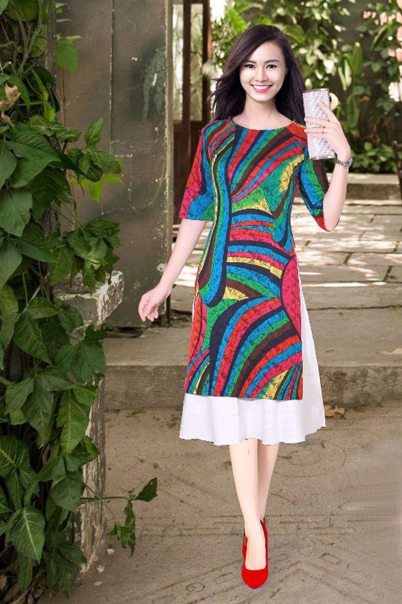 áo dài cách tân họa tiết sọc đủ màu giá sỉ, giá bán buôn