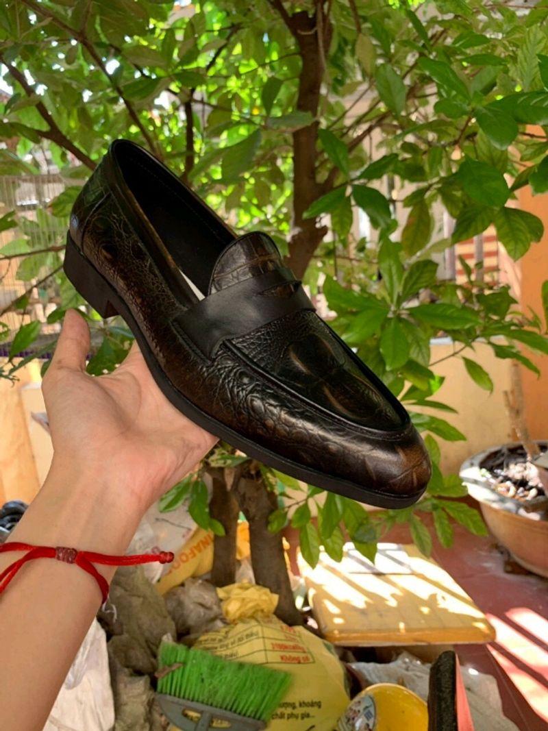 Giày tây nam công sở không dây chất da bò dập vân giá sỉ, giá bán buôn