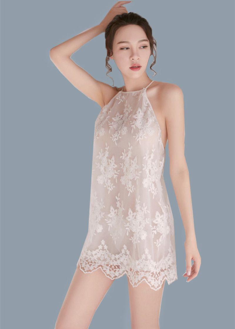 Váy ngủ gợi cảm chất ren thêu hoa nổi 2 lớp FREESIZE dưới 60Kg