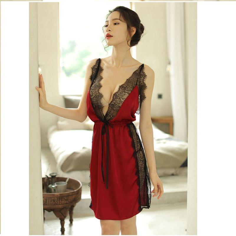Váy ngủ đỏ đô phủ ren chất lụa satin mịn bóng giá sỉ, giá bán buôn