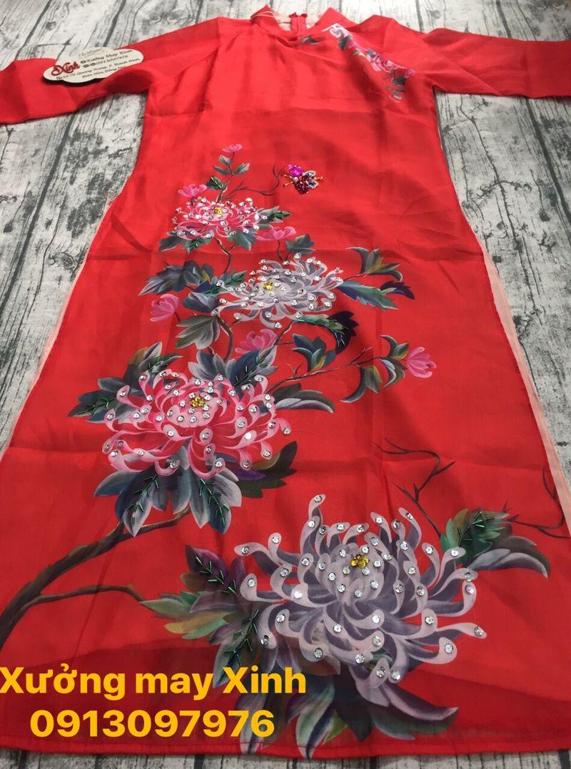 Áo dài cách tân hoa in 3D kết cườm lấp lánh giá sỉ, giá bán buôn