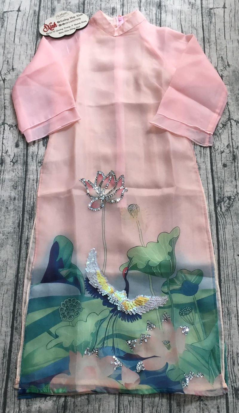Áo dài organza in hoa 3D kết kim sa lấp lánh giá sỉ, giá bán buôn