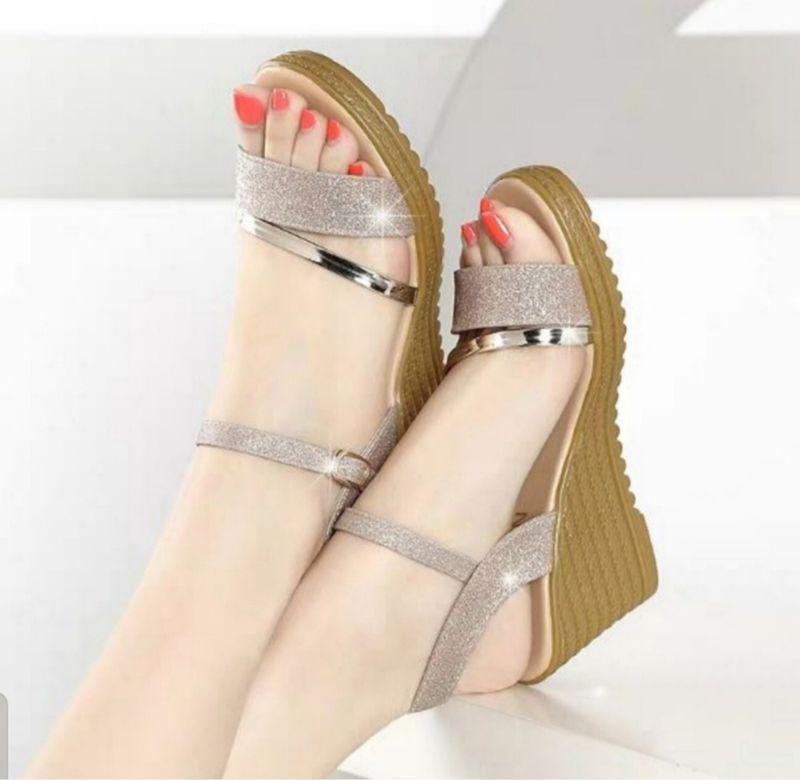 Giày sandal đế xuồng kim tuyến giá sỉ, giá bán buôn
