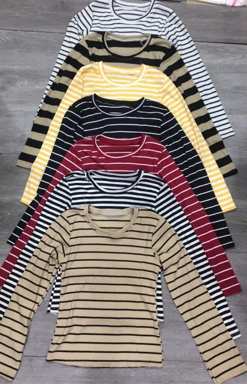 Áo gân len tay dài nhiều màu sọc ngang giá sỉ giá bán buôn