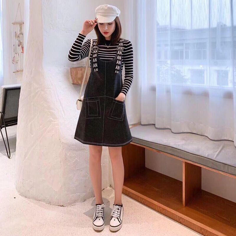 Đầm Yếm Jean Đen Gài Dây Chữ Xì Teen giá sỉ, giá bán buôn