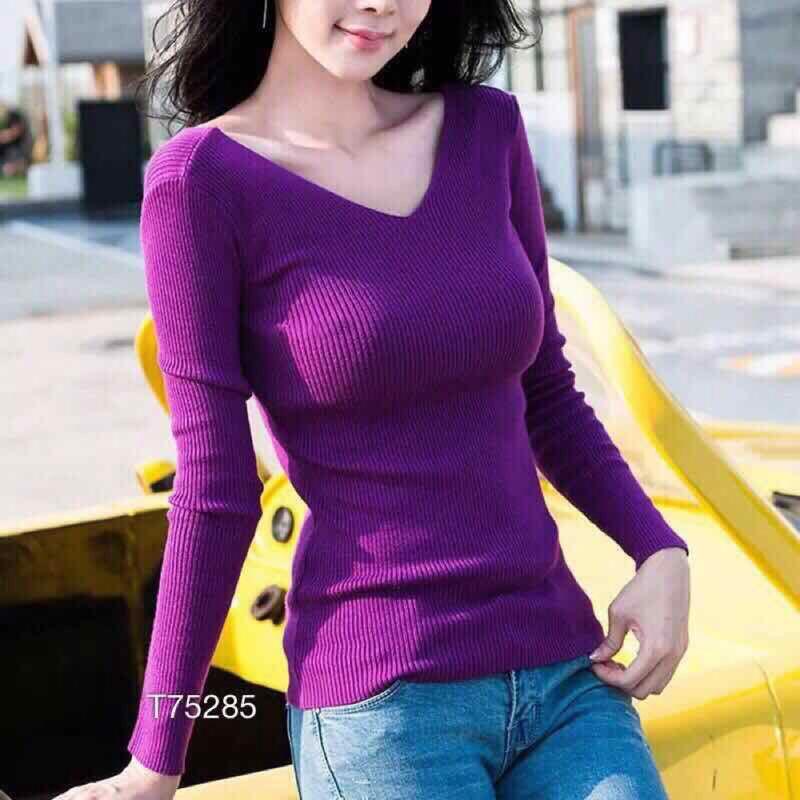 Áo len gân dệt kim tay dài xịn đẹp giá sỉ, giá bán buôn