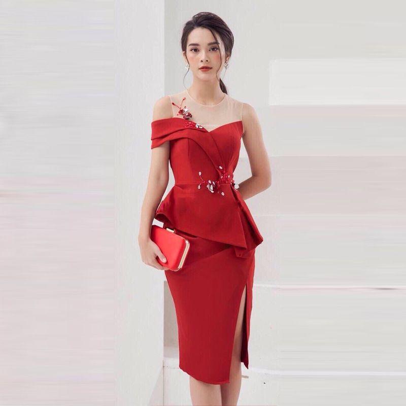 Đầm Dạ Hội Đính Hoa 3D Trễ 1 Vai Cao Cấp giá sỉ, giá bán buôn