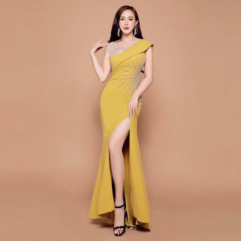 Đầm Dạ Hội Xẻ Tà Kết Ngọc Cao Cấp giá sỉ, giá bán buôn
