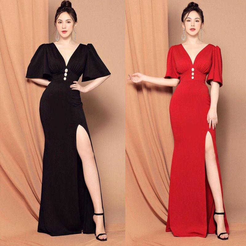 Đầm Dạ Hội Cổ V Tay Phồng Rũ Xếp Ly giá sỉ, giá bán buôn