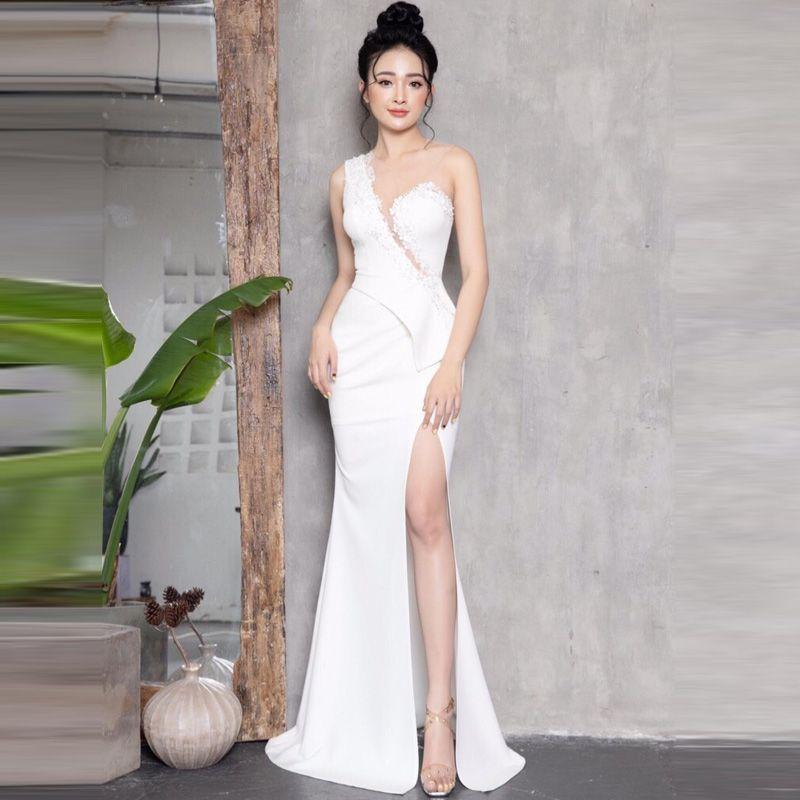 Đầm Dạ Hội Đính Ngọc Xẻ Ngực Nhún Eo giá sỉ, giá bán buôn